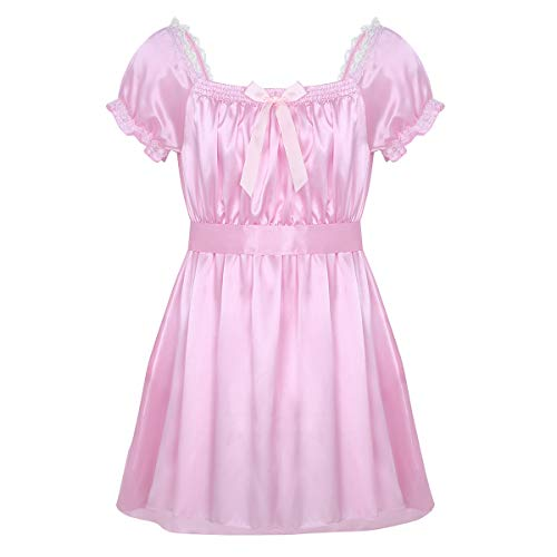 iEFiEL Mens Sissy Lingerie Soft Satin High Low Design Crossdress Baby Doll Nightdress Chemise Dress Pink X-Large