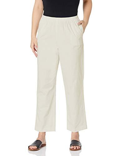 Alfred Dunner Women's All Around Elastic Waist Cotton Short Twill Pants, Stone, 12