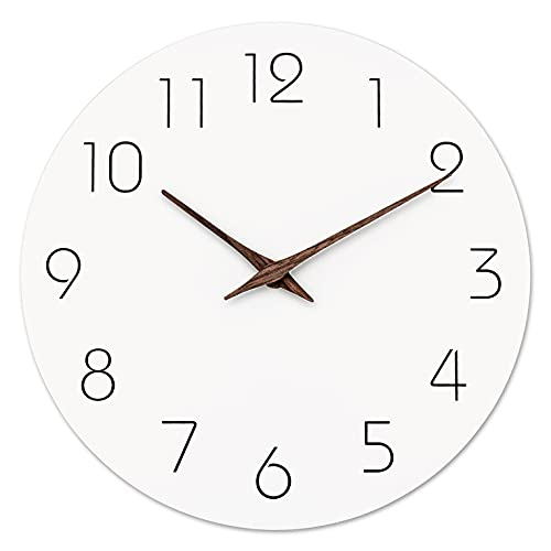 Wall Clock - Silent Non-Ticking 10 Inch Wall Clocks Battery Operated - Modern Style Wooden Clock...