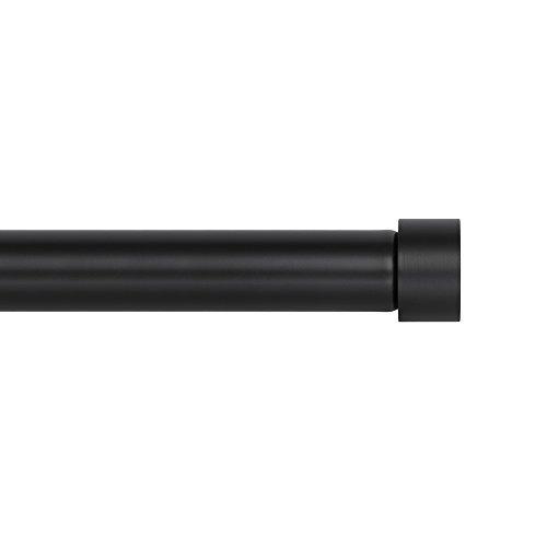 Ivilon Drapery Window Curtain Rod - End Cap Style Design 1 Inch Pole. 28 to 48 Inch Color Black