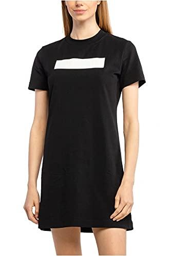 Calvin Klein - Vestido Camisero DE Manga Corta con Logo Grabado J20J216461 BEH EN Color Negro - Vestido para Mujer (S)