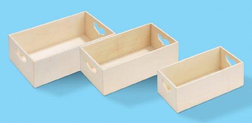 Holz-Kisten m. Herz, Set a 3, 20, 18 und 16 cm