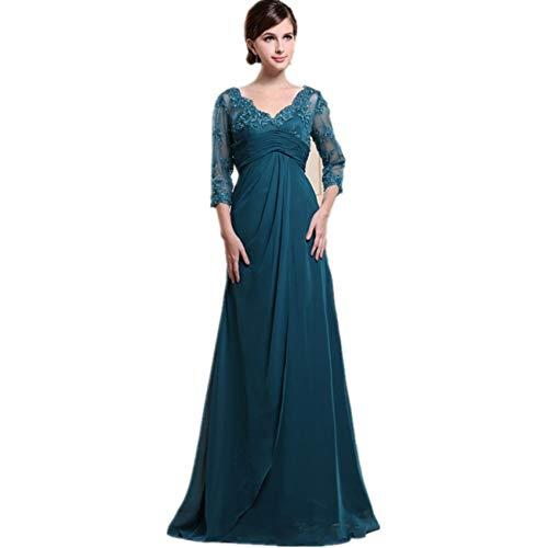 BINGQZ Jurk/Cocktailjurken/Casual driekwart mouwen Elegante moeder van de bruid jurken chiffon kant kralen lange avond formele jurken