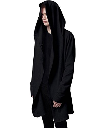 Mens Stylish Hip Hop Sweatshirt Long Hoodies Cardigan Black Cloak Outerwear (Large)