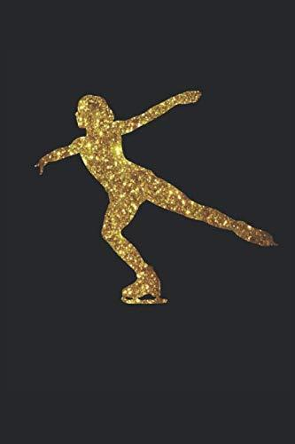 Pattinatore silhouette oro: Quaderno per regali di pattinaggio artistico rivestito (formato A5, 15,24 x 22,86 cm, 120 pagine)