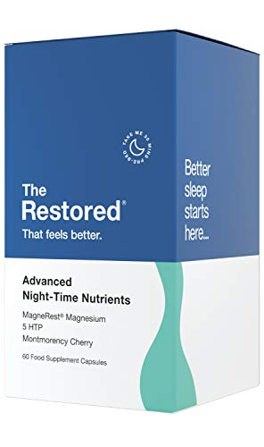 The Restored 5HTP, Magnesium, Montmorency Cherry, Chamomile Natural Melatonin Sleep Aid, 60 Capsules