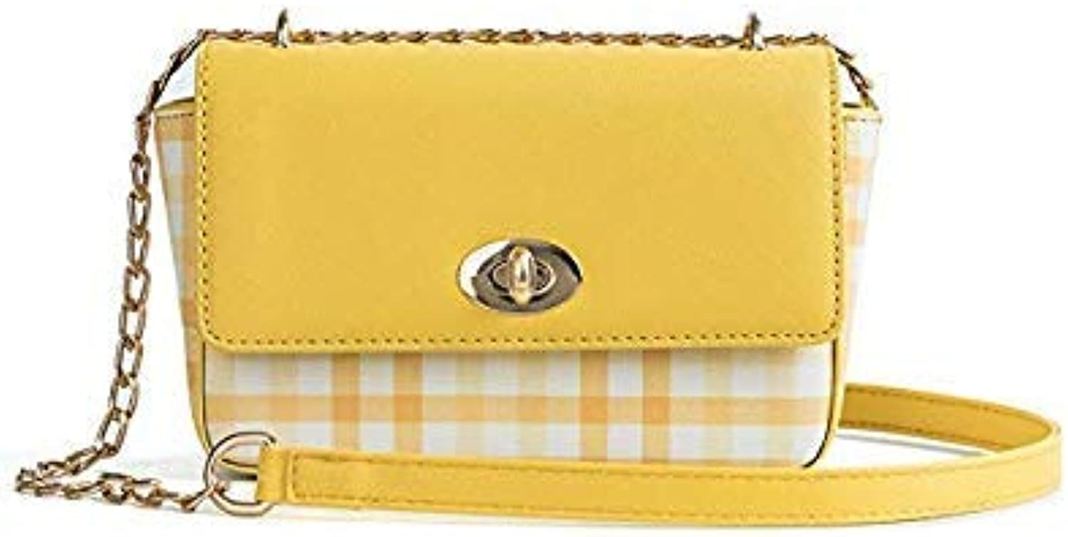Bloomerang MSGHER Luxury Handbags Women Bags Designer Plaid Shoulder Bag Female Casual Patchwork Crossbody Bags Cute Small Bags WB987 color Yellow Size S