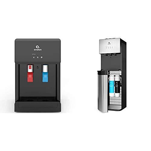 Avalon A8CTBOTTLELESSBLK Countertop Self Cleaning Touchless Bottleless Cooler Dispenser Hot & Cold Water, black & A5 Self Cleaning Bottleless Water Cooler Dispenser, Stainless Steel, full size
