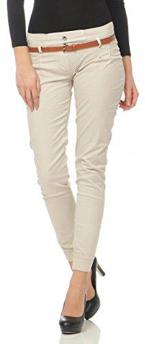 Malito Damen Chino Hose inkl. Gürtel | Stoffhose mit Stretch | lässige Freizeithose | Skinny - elegant 5396 (beige, L)