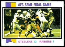 1973 Topps Regular (Football) card#134 AFC Semi-Final Game Steelers vs Raiders of the - Undefined - Grade Very Good