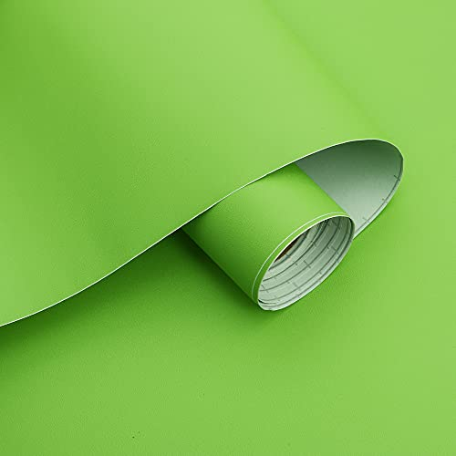 15.7''×118''Solid Green Wallpaper Peel And Stick Green Contact Paper Light...