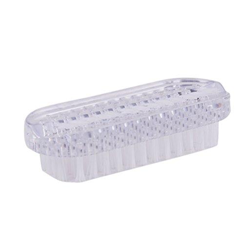 ULTNICE Brosse à récurer en plastique pour ongles Nettoyage à la brosse à ongles de double face (blanc)