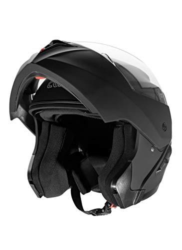 Cruizer-Casco modular homologado de color blanco, con doble visor, visera integral, interior desmontable y lavable. M negro mate