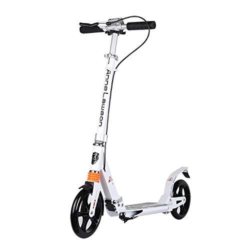 Tretroller mit 2 Big Wheels, Leicht Folding Einstellbare Höhe, Trick Scooter mit Handbremse Freestyle Scooters für Jungen und Mädchen,Weiß
