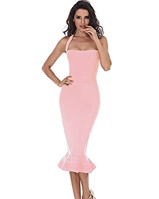 whoinshop Women¡¯s Halter Sleeveless Mermaid Bodycon Bandage Cocktail Midi Dress Pink XS