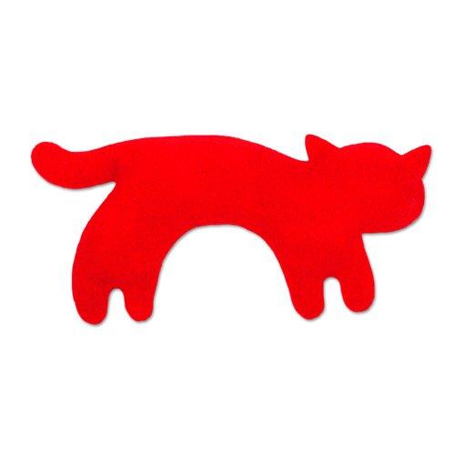Leschi WÄRMEKISSEN lindert Bauchschmerzen/für Mikrowelle und Ofen/Körnerkissen für Kinder und Babys/Katze Minina, klein, rot schwarz