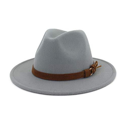 Lisianthus Men & Women Vintage Wide Brim Fedora Hat with Belt Buckle A-Light Grey 56-58cm