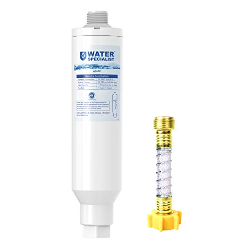 Waterspecialist RV Inline Water Filter, NSF Certified, Reduces Lead, Fluoride, Chlorine, Bad Taste&Odor, Dedicated for RVs, 1 Pack Water Filter with Hose Protector