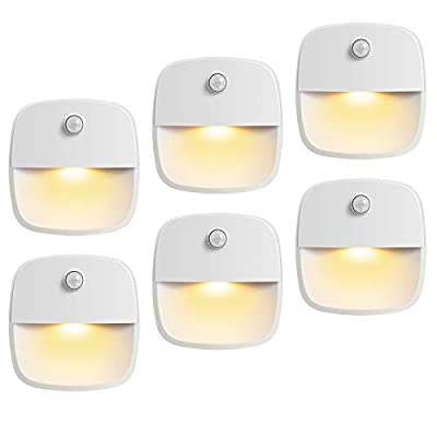 AMIR (Upgraded Version) Motion Sensor Light, Cordless Battery-Powered LED Night Light, Wall Light, Closet Lights, Safe Lights for Stairs, Hallway, Bathroom, Kitchen, Cabinet (Warm White - Pack of 6)