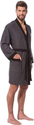 Morgenstern Kimono Bademantel Herren Grau Herrenbademantel Saunamantel kurz Knielang leicht Männer dünn Viskose Microfaser Baumwolle Größe L