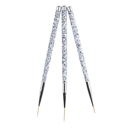 Sharplace 3pcs Pinceau en Détail à Ongles Pinceaux pour Nail Art Professionnels Détail Pour Acrylique Huile Aquarelle Nail Art