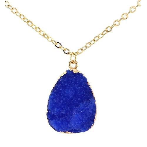 XIGAWAY Resina druzy piedra rebanada cuarzo cristal colgante cadena collar joyería de moda, Tela,