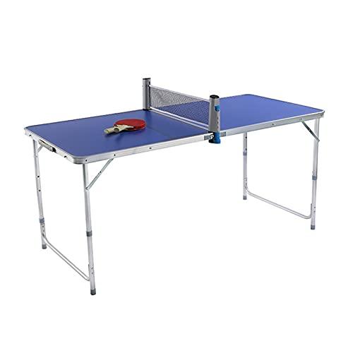 ZQD Juego De Mesa De Tenis De Mesa De 5 X 3 Pies Interior Al Aire Libre Plegable, Portátil, Pequeño Juego De Tenis, Mesa De Picnic con Red Desmontable, 2 Palas De Tenis De Mesa (Color : Azul)
