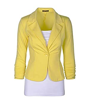 Auliné Collection Women s Casual Work Solid Color Knit Blazer Yellow 1X