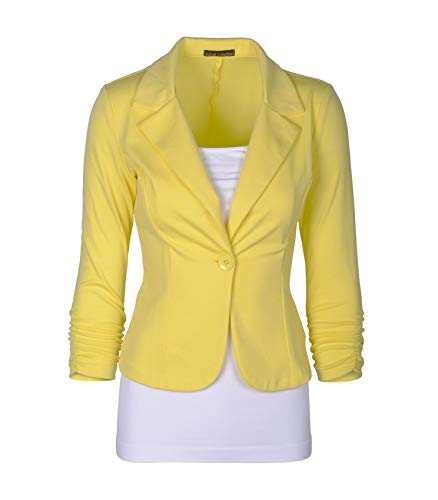 Auliné Collection Women's Casual Work Solid Color Knit Blazer Yellow 1X