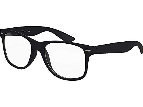 Balinco Hochwertige Nerd Sonnenbrille Rubber im Retro Stil Vintage Unisex Brille mit Federscharnier - 96 verschiedene Farben/Modelle wählbar (Schwarz - Transparent)