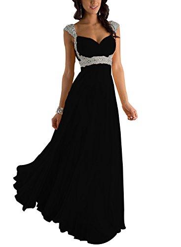 Erosebridal Formal Chiffon Lange Brautjungfernkleider Abendkleid DE 36 Schwarz