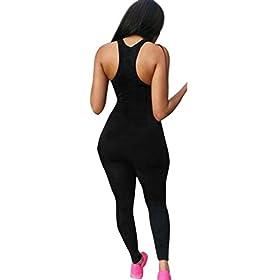 POCCIOL Women Love Bodysuit Women Casual Pants Bodycon Romper Club Long Bodysuit Sleeveless Jumpsuit