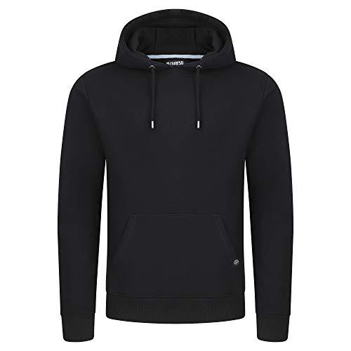 riverso Herren Kapuzenpullover RIVTheo Hoodie Sweatshirt Pullover Kapuze Kängurutaschen Regular Fit Einfarbig Baumwolle Schwarz 4XL, Größe:4XL, Farbe:Black (24000)
