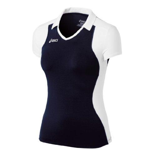 ASICS Damen Angreifer Cap Sleeve Top, Damen, Marineblau/weiß, Large