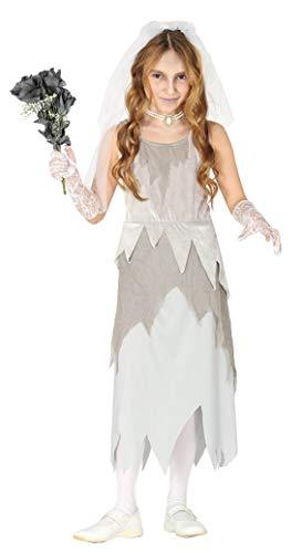 Guirca- Costume Sposa Fantasma Cadavere Bambina 5/6 A nni, Colore Grigio, 87794