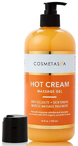 Hot Cream Massage Gel: Anti- Cellulite, Skin Tightening, Toning & Muscle and Joint Pain Relief Jelly 100% Natural, 87% Organic, Cruelty Free by Cosmetasa… (16.9 oz, 1- Pack)