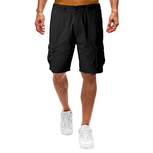 NEEKY Herren Shorts Plissee Summer Mid-Rise Herren Shorts Lose Casual Multi-Pocket Tooling Baumwollmischung Hosen Herren Hosen Cargo Chino(32,Schwarz)