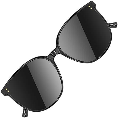 ATTCL Gafas de sol redondas grandes con protección UV400 Marco TR90 JD222 Black