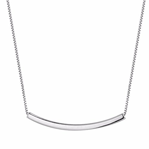 QIANDI Long Necklace Dainty Curved Tube Bar Minimalist Pendant Choker Necklace 925 Sterling Silver