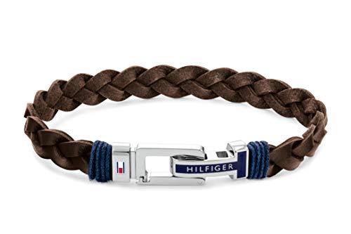 Tommy Hilfiger Herren Armband »Casual Core« mit Emaille, Armband aus Edelstahl und geflochtenem Leder in der Farbe Braun, Gesamtlänge 21cm, 2790309