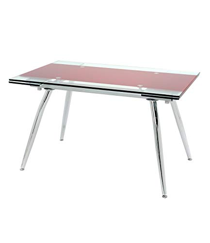 Manchester Furniture Supplies Micha Modern Extendable Glass Dining Table (Red, 125cm)