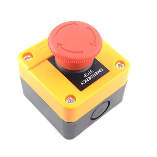 Heschen Red Sign Weatherproof Emergency Stop Switch Push Button Switch 660V 10A with Box /& Key