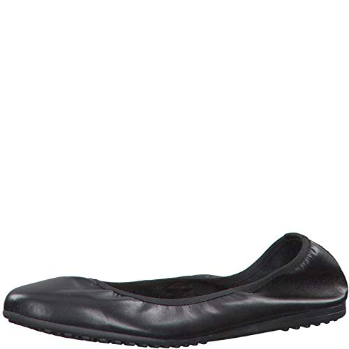 Tamaris Damen Ballerinas 22122-24, Frauen KlassischeBallerinas, leger Flats sommerschuh Gummizug weibliche,Black Leather,38 EU / 5 UK