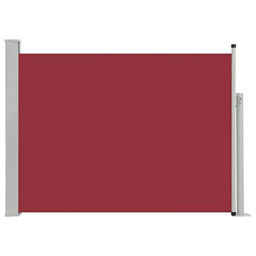 vidaXL Seitenmarkise Ausziehbar Sonnenschutz Sichtschutz Windschutz Seitenrollo Markise Seitenwandmarkise Balkon Garten Terrasse 120x500cm Rot