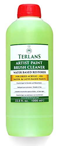 Terlans Limpiador de pinceles apara artistas en base aqua1000 ml Para pinturas acrílicas secas, aceite, agua y látex