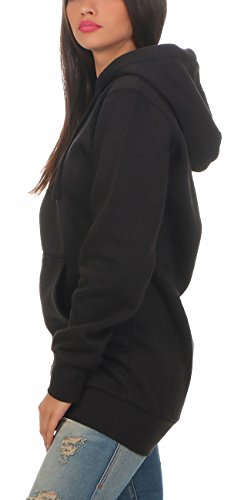 Gennadi Hoppe Damen Long Hoodie Longpulli Kapuzenpullover, Black/schwarz, L