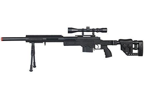 Well MB4410BAB Full Metal MB4410 Spring Sniper Rifle Airsoft Gun (Black/Scope & Bipod Package)