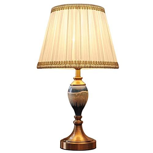 UWY Lámpara de Mesa Simplicity Ceramics Lámpara de Mesa Lámpara de mesita de Noche Moderna con Pantalla de Tela para Sala de Estar Dormitorio Familiar Lámpara de Lectura Junto a la Cama (Interru