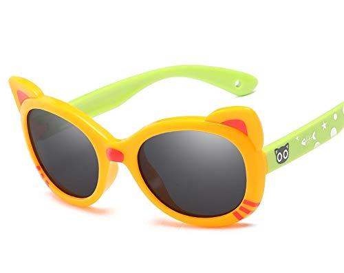 Gafas de Sol Gafas de Sol polarizadas para niños Gafas de Sol Coloridas para bebés Gafas de Silicona polarizadas para bebés Deportes y Aire Libre (Color : Orange Yellow Frame Green Leg)