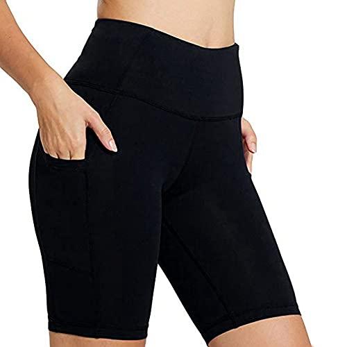 Leggings cortos para mujer, cintura alta, pantalones de yoga, pantalones de deporte, mallas para correr, con bolsillos, elásticos, pantalones de jogging, yoga, deporte, fitness, correr, Negro , XXXXL